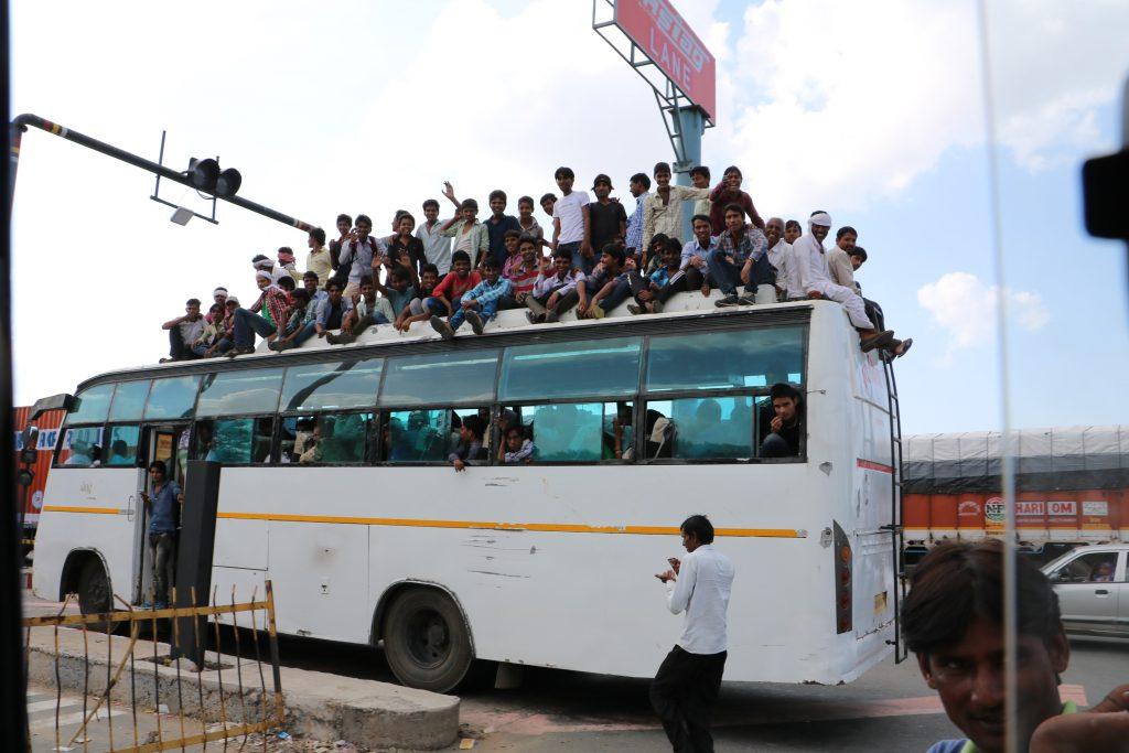 India traffic - Public busses